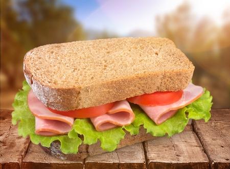 Footlong ham & swiss submarine sandwich isolated on white Archivio Fotografico