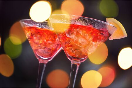 Cocktails with Ice Cubes and Lemon Garnish Stock Photo