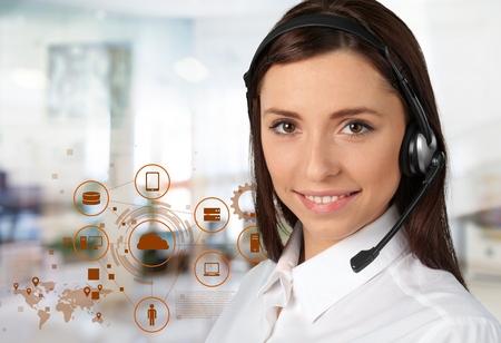 Smiling customer service Stock Photo