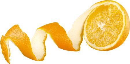 Orange slice rolling out of peel