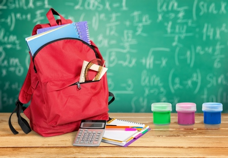 backpack for school stationery learning isolated on white background Stock Photo