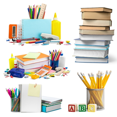 School and office supplies on white background. Back to school.