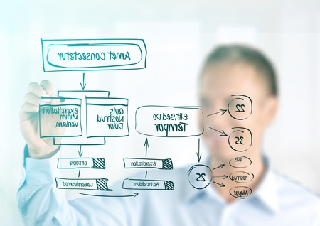 businessman showing XML structure 版權商用圖片