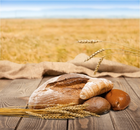 Assorted Breads with wheat isolated Stock Photo