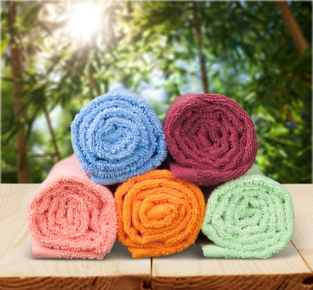five colored towels
