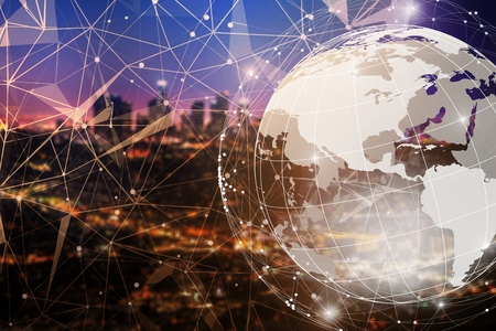 Smart city and global network concept
