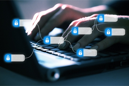 Blockchain technology concept 스톡 콘텐츠