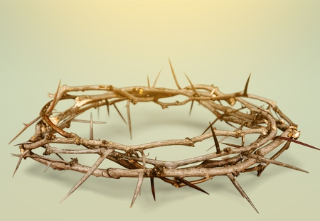 Crown of thorns with blood on canvas symbolic of Jesus Christs suffering on the cross - on art grunge background