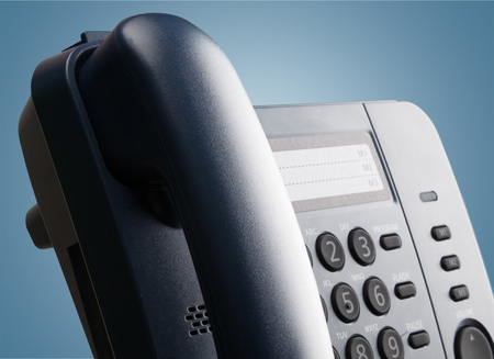 Digital VoIP phone, close-up, selective focus
