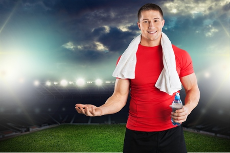 Workout with Apple and Water Bottle Stock Photo
