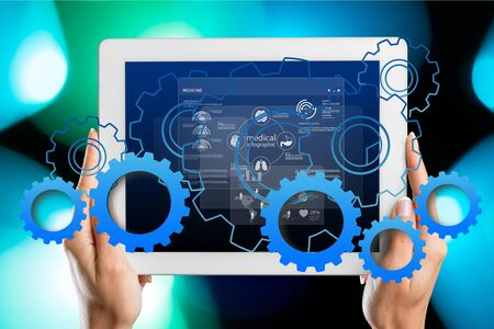 Female hands touching tablet with white cloud concept Stock Photo