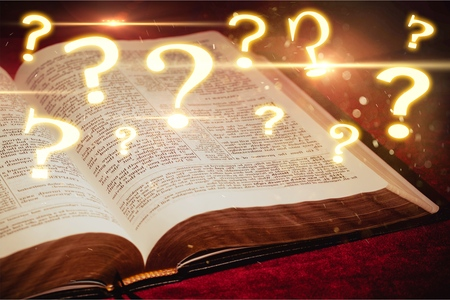 Open Bible and questions icons Stok Fotoğraf