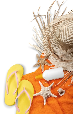Flip-Flops, Towel, Sun Cream, Straw Hat and Seashells