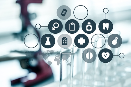 Close-up of digital signs on medical objects background