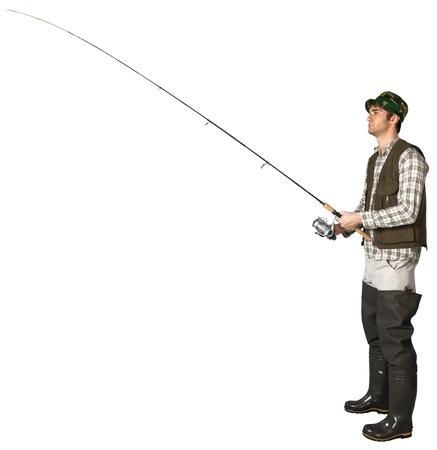 Fisherman Holding a Fishing Rod Stok Fotoğraf