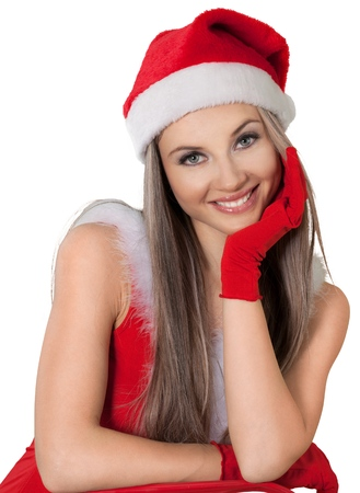 Beautiful Santa Girl Resting Head on Hand - Isolated Stock Photo