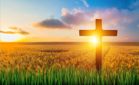 The cross on green grass with sunset Stock fotó