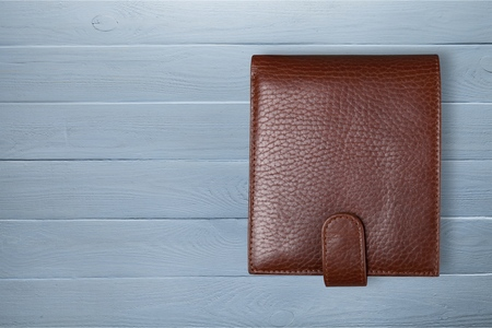 Brow Leather wallet on desk