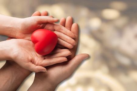 Mani delle coppie con il cuore