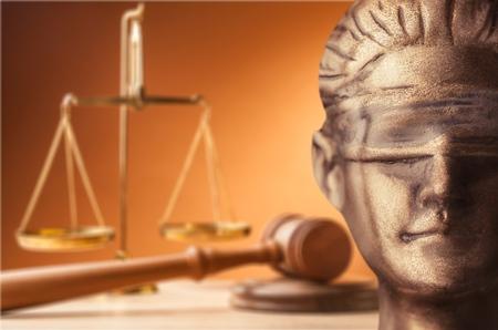 Face of Lady Justice Standard-Bild
