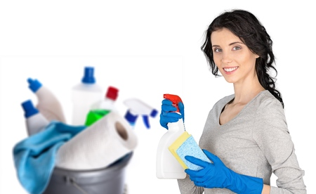 Cheerful woman cleaning Stock Photo