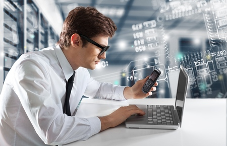 Businessman looking in a computer