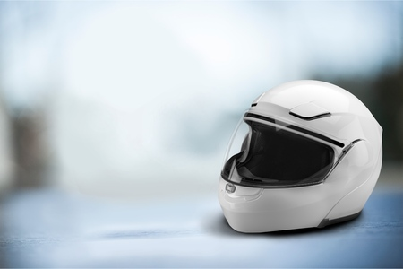 Biker helmet on table