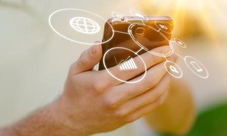 Woman hand using smart phone