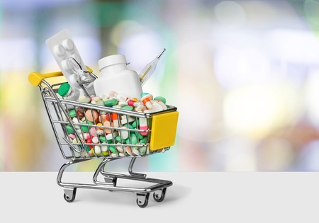 Shopping trolley with medical capsule
