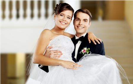 Smiling wedding couple