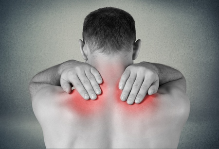 Pictures representing man having pain at several part of body Stock Photo