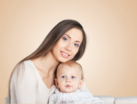 Mother and Baby. Happy Family. Mom With her Child. Stock Photo