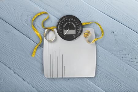 Scale and Tape Measure Stock Photo
