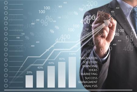 Businessman hand point graph growth Stock fotó