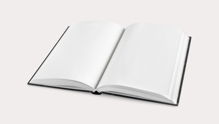 Blank open book on white paper background