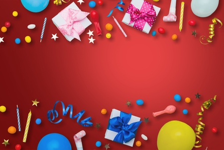 Birthday party collections on red background