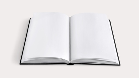 Blank open book on white background
