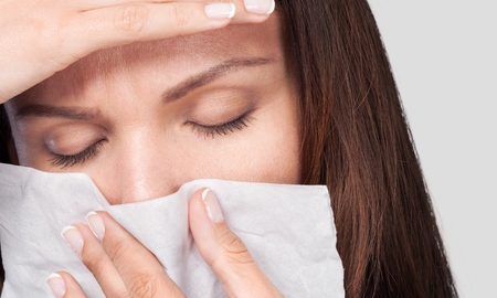 European woman with cold symptoms Stok Fotoğraf