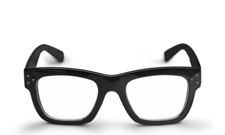 Black eyeglasses on white background