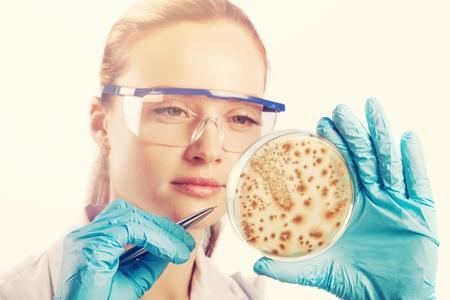 Woman scientist holds petri dish
