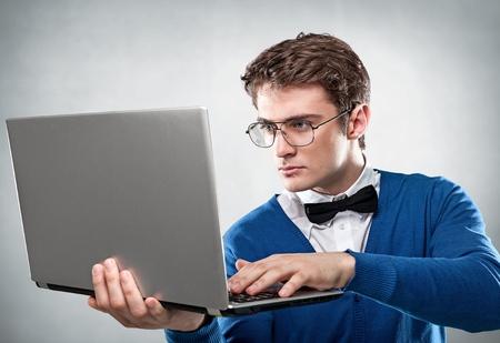 handsome man with laptop Stok Fotoğraf