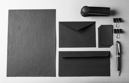 Set of variety blank office objects,black and white colors