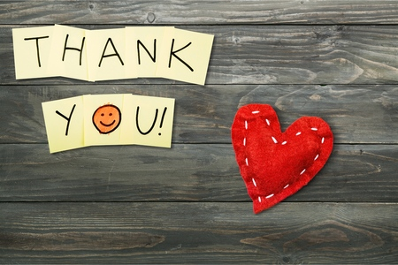 Thank You - Words on Yellow Sticky Notes Stock Photo
