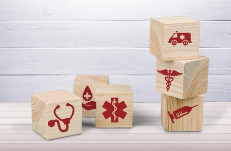 wood block stacking with medial icon
