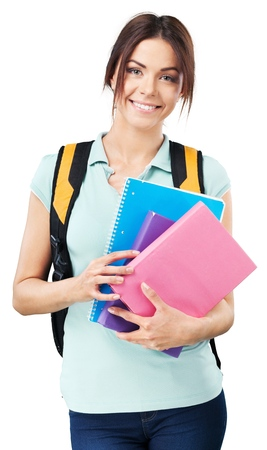 bright picture of smiling student with books and schoolbag