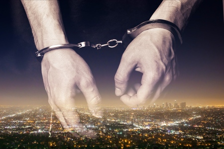 Hands of prisoner Stock Photo