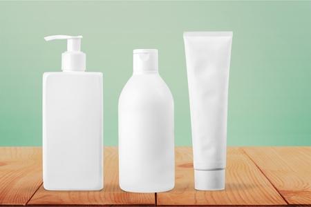 Set of cosmetic bottles isolated on white background Archivio Fotografico