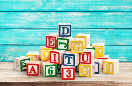 wooden toy cubes with letters. Wooden alphabet blocks. Stock fotó