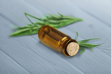 Oil and herb products Banque d'images