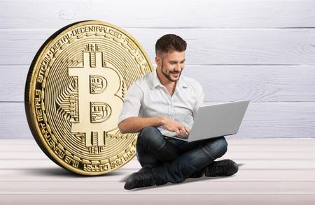 Bitcoin mining virtual cryptocurrency Stock Photo